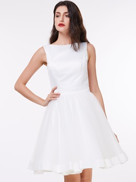 Ericdress A-Line Round Neck Bowknot Knee-Length Homecoming Dress