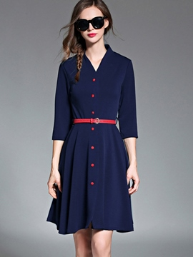 Ericdress V-Neck Button Belt Pleated  Casual Dress