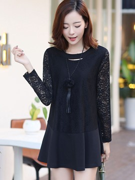 Ericdress Lace Overlay Loose Blouse