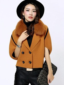 Ericdress Loose Faux Fur Batwing Jacket