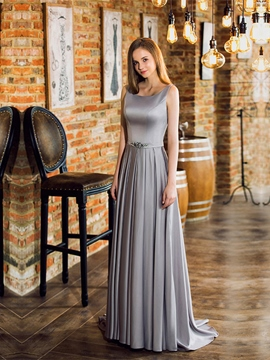 Ericdress Pretty A Line Beaded Waistline Backless Long Evening Dress