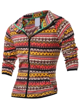 Ericdress Ethnic Print Zip Casual Men's Hoodie