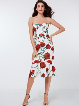 Ericdress Strapless Print Mermaid Sheath Dress