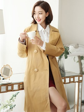 Ericdress Loose Belt Double-Breasted Trench Coat
