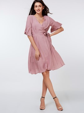Ericdress Ruffle Sleeve Cross V-Neck Pleated Patchwork Casual Dress