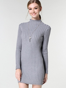Ericdress Stand Collar Lace-Trim Strip Knitting Sweater Dress
