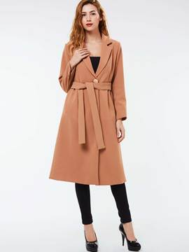Ericdress Solid Color Slim One-Button Trench Coat