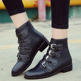Ericdress PU Rivet Point Toe Martin Boots