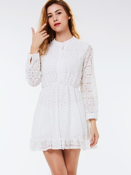 Ericdress Lace Hollow Stand Collar Button Lace Dress
