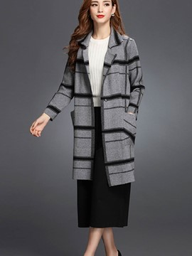 Ericdress Straight Color Block Coat