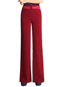 Ericdress Vintage Solid Color Wide Legs Pants