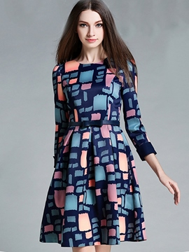 Ericdress European Color Block Patchwork Pleated Casual Dress