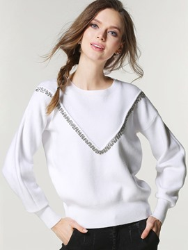 Ericdress Bead Solid Color Knitwear