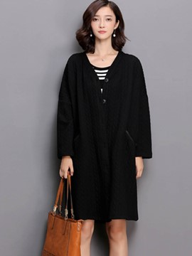 Ericdress Loose Straight V-Neck Casual Coat