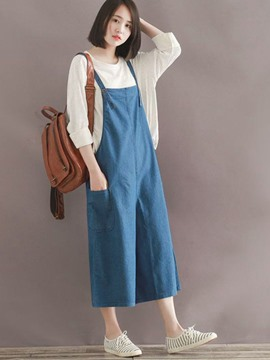 Ericdress Simple Straight Denim Suspender Pants