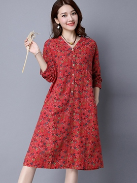 Ericdress Pastoral V-Neck Button Loose Casual Dress