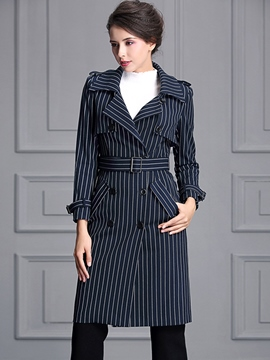 Ericdress Slim Stripped Polo Trench Coat