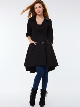 Ericdress Double-Breasted Slim Wave Cut Coat