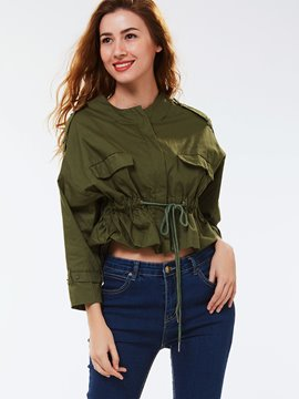 Ericdress Loose Pleated Lace-Up Jacket
