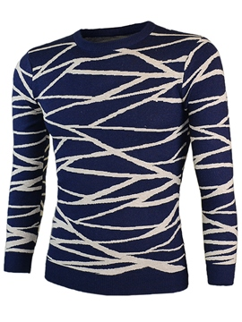Ericdress Unique Net Patchwork Crew Neck Pullover Men's Sweater