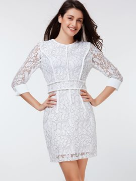 Ericdress Mesh Floral Patchwork Lace Dress