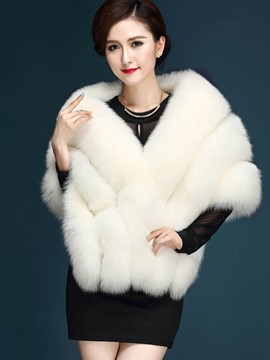 Ericdress Solid Color Faux Fur Elegant Cape