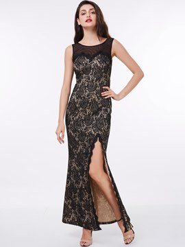 Ericdress Sheath Scoop Neckline Side Slit Ankle Length Lace Evening Party Dress