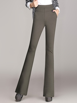 Ericdress Solid Color Elastic Flared Pants