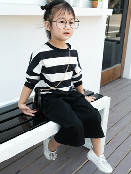 Ericdress Stripe T-Shirt Pants 2-Pcs Girls Outfit