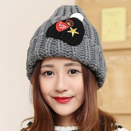 Ericdress Applique Design Winter Knitted Hat