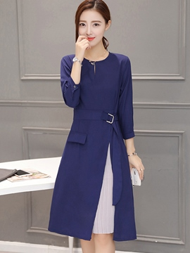 Ericdress Split Patchwork Belt Casual Dress