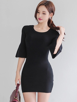Ericdress Flare Sleeve Round Neck Plain Bodycon Dress