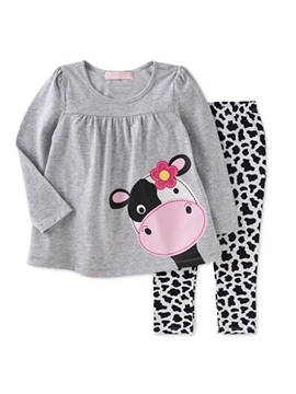 Ericdress Animal Pattern T-Shirt Leopard Pants Girls Outfit