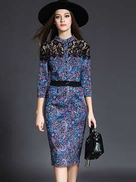 Ericdress Geometric Print Lace Patchwork Stand Collar Sheath Dress