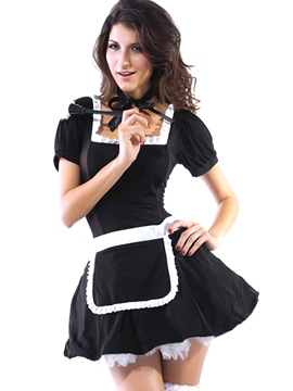 Ericdress Patchwork Lace-Up Backless Sexy Maid Cosplay Costume