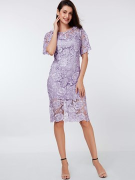 Ericdress Solid Color Flare Sleeve Lace Dress