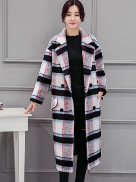 Ericdress Double-Breasted Turn-Down Plaid Coat