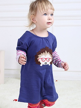 Ericdress Cute Hedgehog Print Baby Girls Dress