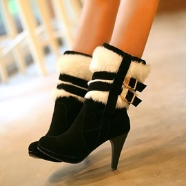 Ericdress Suede Buckle&furry High Heel Boots