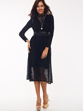 Ericdress Knitted PU Patchwork Casual Dress