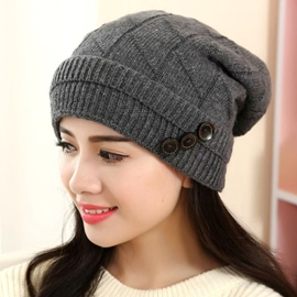 Ericdress Buttons Embellished Pure Color Knitted Hat