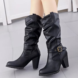 Ericdress PU Buckles Riding Boots