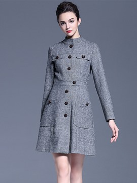 Ericdress Solid Color Button Slim European Trench Coat