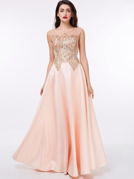 Ericdress Delicate Sheer Neck Appliques Evening Dress