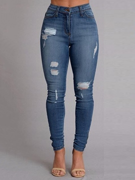 Ericdress Solid Color Skinny Ripped Denim Jeans