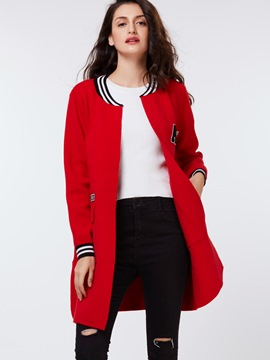 Ericdress Red Baseball Cardigan Knitwear