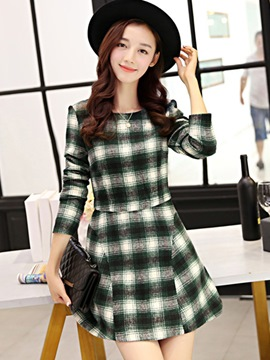Ericdress Plaid Patchwork Above Knee Casual Dress