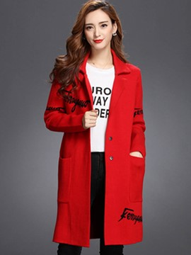 Ericdress Straight Letters Polo Coat