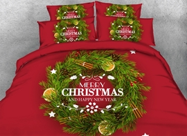 Ericdress Christmas Green Ring Print 3D Bedding Sets