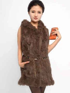 Ericdress Slim Faux Fur Hooded Jacket